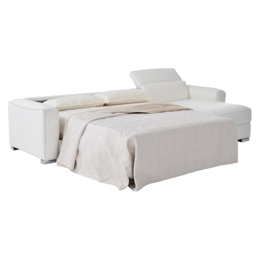 Bay Harbor White Leather Sleeper w/Right Chaise  alternate image, 2 of 10 images.