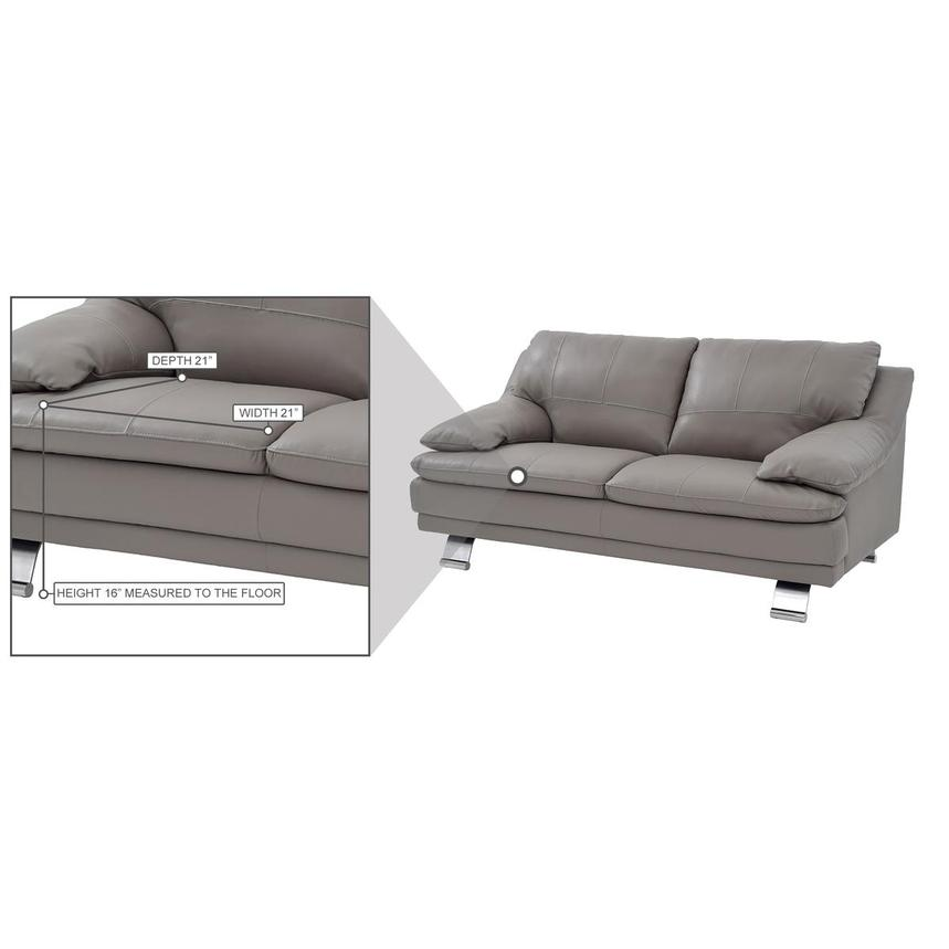 Rio Light Gray Leather Loveseat  alternate image, 8 of 8 images.