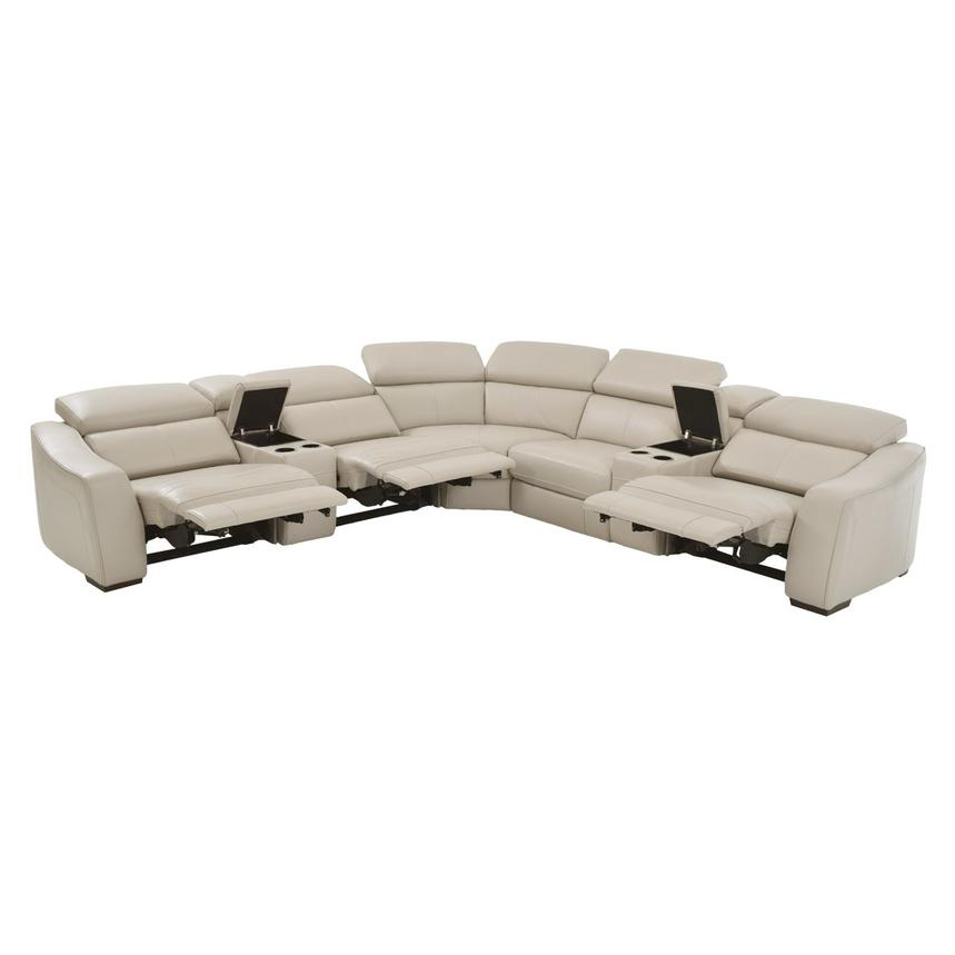 James Cream Power Motion Leather Sofa w/Right & Left Recliners  alternate image, 3 of 9 images.