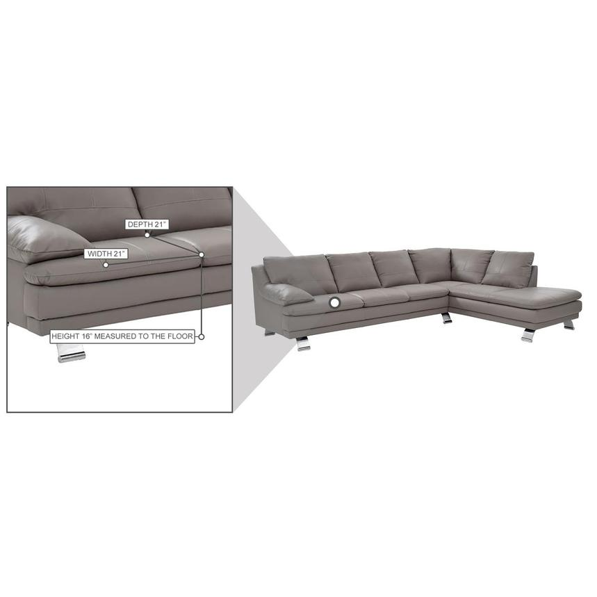 Rio Light Gray Leather Corner Sofa w/Right Chaise  alternate image, 8 of 8 images.