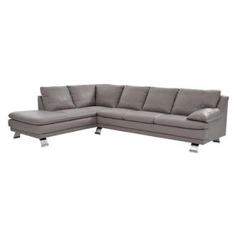 Rio Light Gray Leather Corner Sofa w/Left Chaise