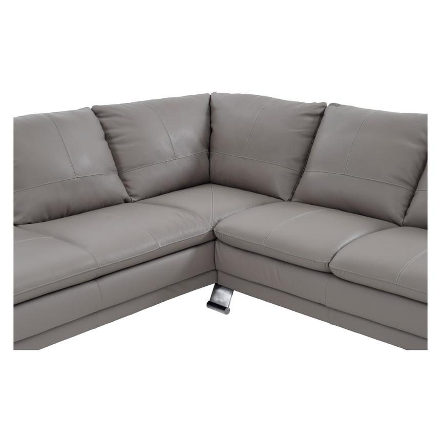 Rio Light Gray Leather Corner Sofa w/Left Chaise  alternate image, 4 of 7 images.