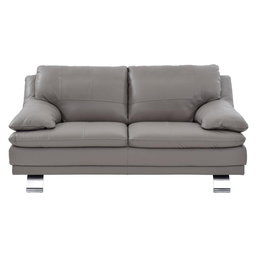 Rio Light Gray Leather Loveseat Made in Brazil  alternate image, 2 of 7 images.
