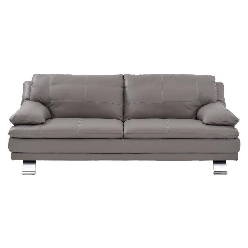 Rio Light Gray Leather Sofa  alternate image, 2 of 7 images.