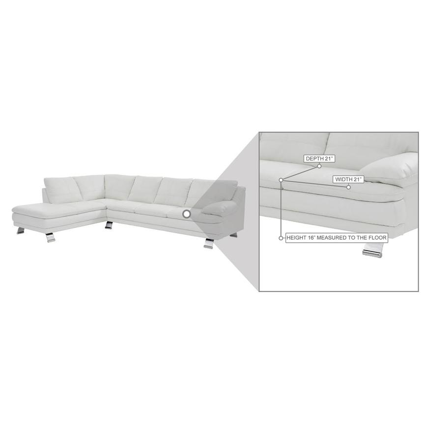 Rio White Leather Corner Sofa w/Left Chaise  alternate image, 8 of 8 images.
