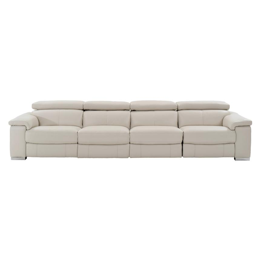 Nathan Cream Oversized Leather Sofa  alternate image, 3 of 10 images.