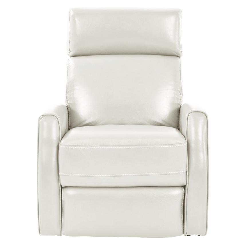 Lucca White Leather Power Recliner  alternate image, 3 of 8 images.