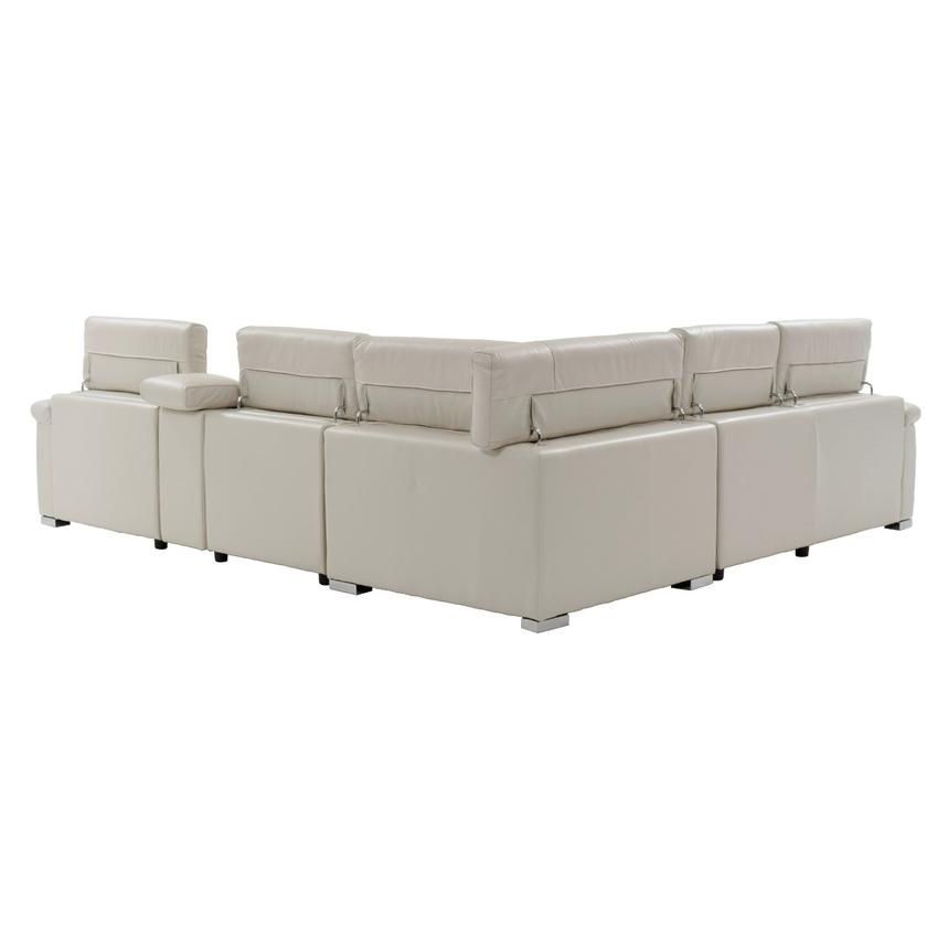 Nathan Cream Power Motion Leather Sofa w/Console  alternate image, 3 of 11 images.