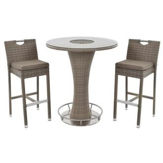 Neilina Brown 3-Piece Patio Set w/ Ice bucket