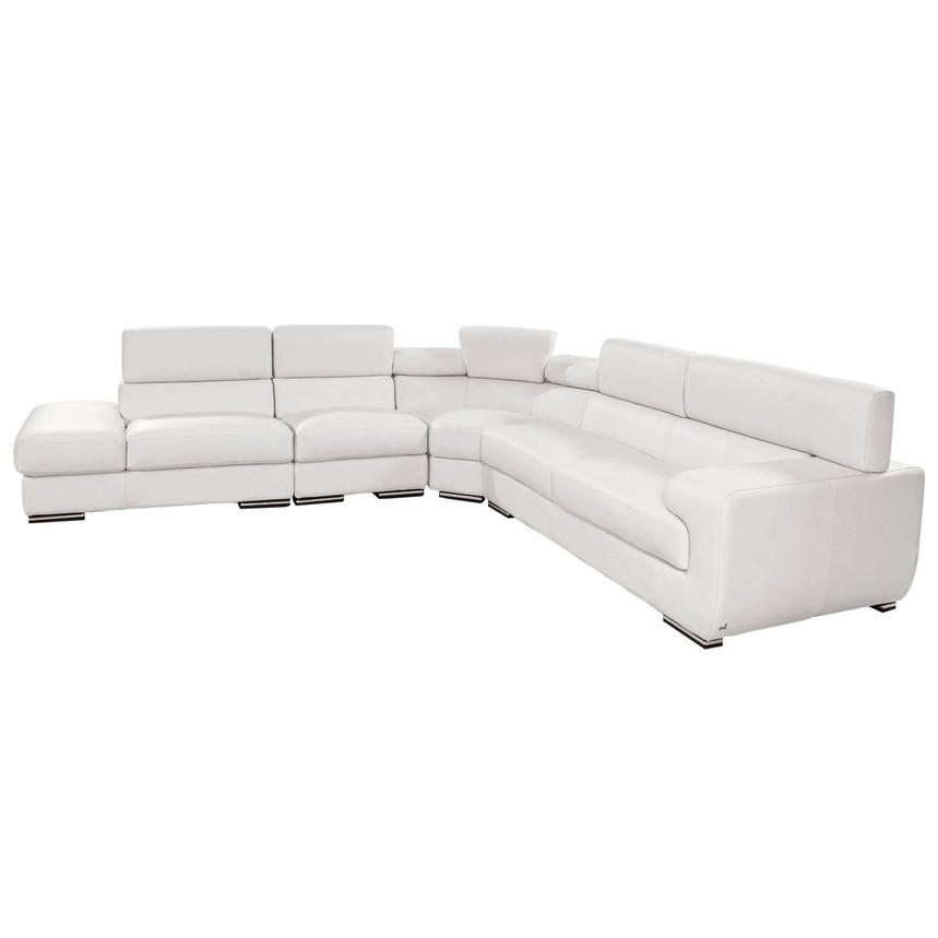 Grace White Leather Sofa w/Left Chaise  alternate image, 3 of 8 images.