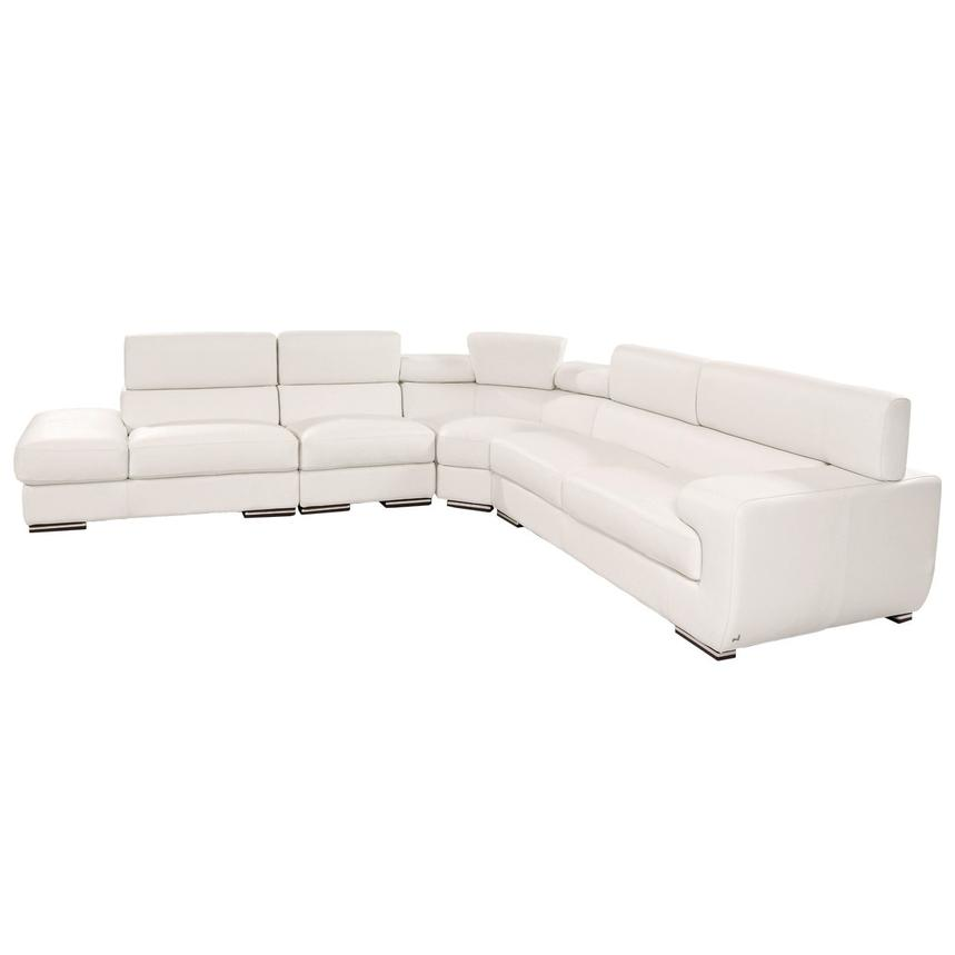 Grace White Leather Sofa w/Left Chaise  alternate image, 3 of 7 images.