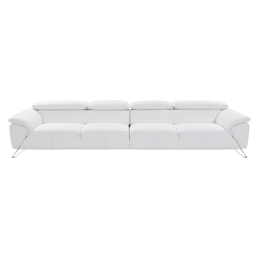 Tesla White Oversized Leather Sofa  alternate image, 3 of 7 images.