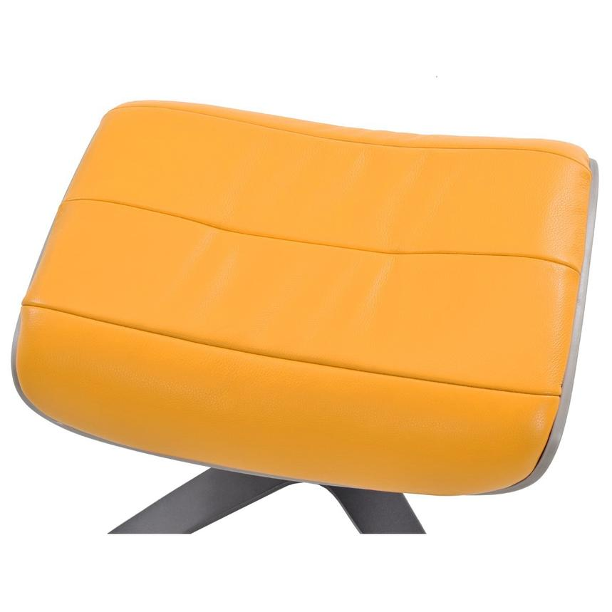 Enzo Yellow Leather Ottoman  alternate image, 2 of 4 images.