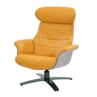 Enzo Yellow Leather Swivel Chair