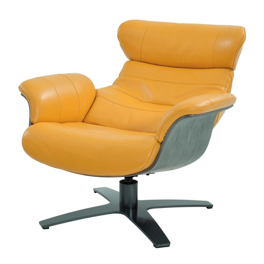 Enzo Yellow Leather Swivel Chair  alternate image, 2 of 9 images.