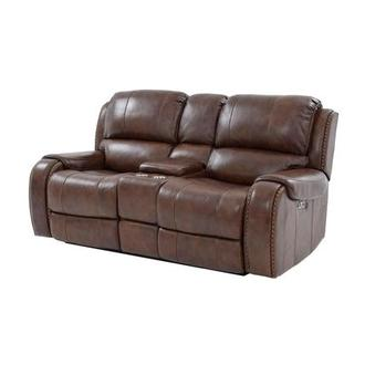 Durham Leather Power Reclining Sofa w/Console
