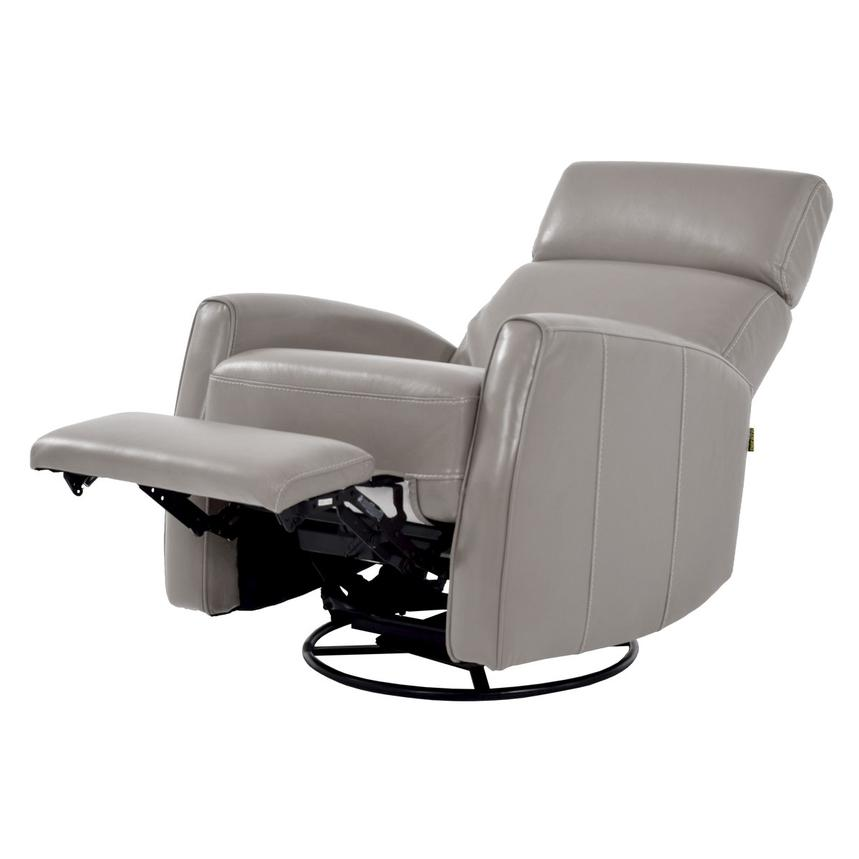 Lucca Gray Power Motion Leather Recliner  alternate image, 2 of 7 images.