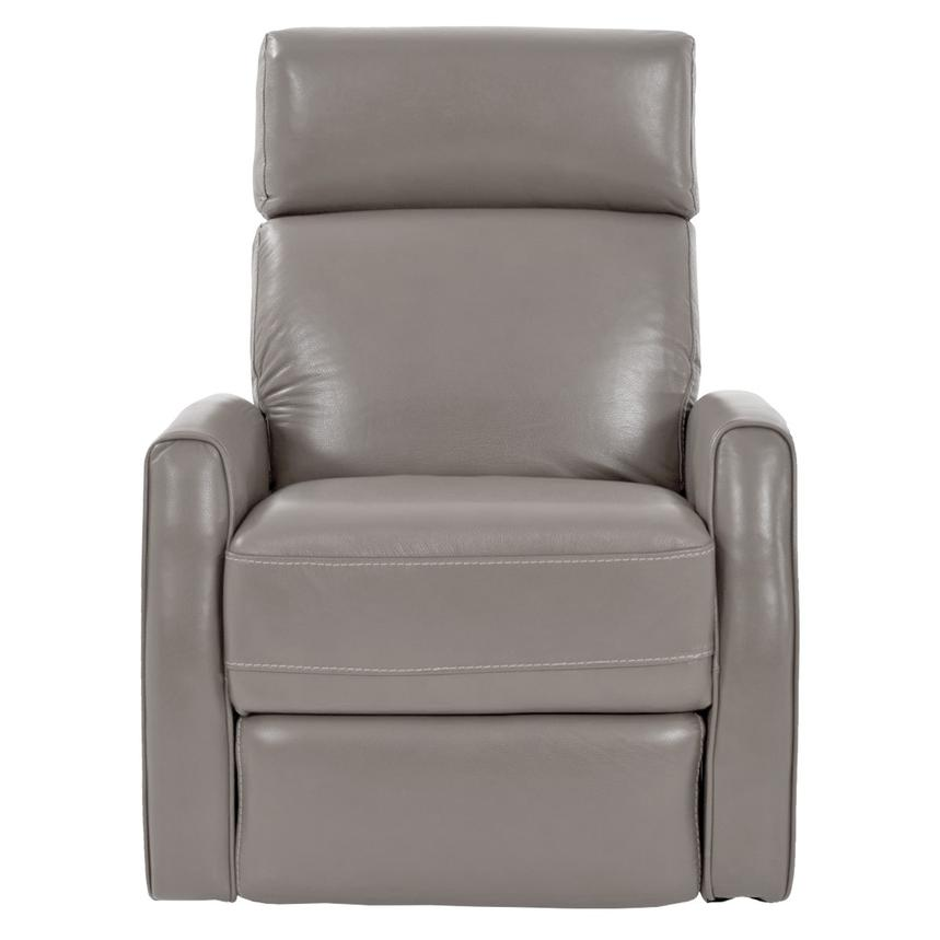 Lucca Gray Leather Power Recliner  alternate image, 3 of 7 images.