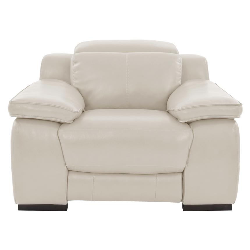 Gian Marco Cream Power Motion Leather Recliner  alternate image, 3 of 8 images.