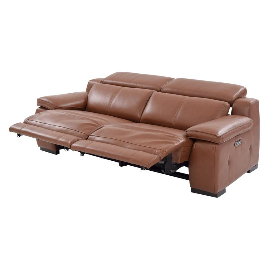 Gian Marco Tan Leather Power Reclining Sofa  alternate image, 2 of 8 images.