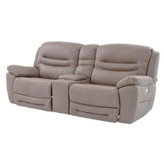 Dan Light Gray Power Motion Sofa w/Console