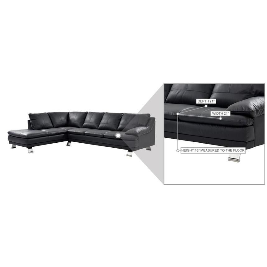 Rio Dark Gray Leather Corner Sofa w/Left Chaise  alternate image, 8 of 8 images.