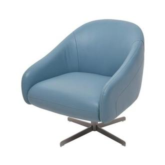 Brookville Blue Leather Swivel Chair