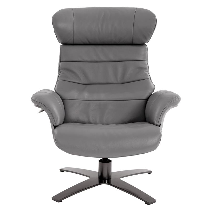 Enzo Gray Leather Swivel Chair  alternate image, 3 of 10 images.