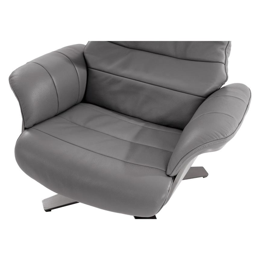 Enzo Gray Leather Swivel Chair  alternate image, 7 of 9 images.