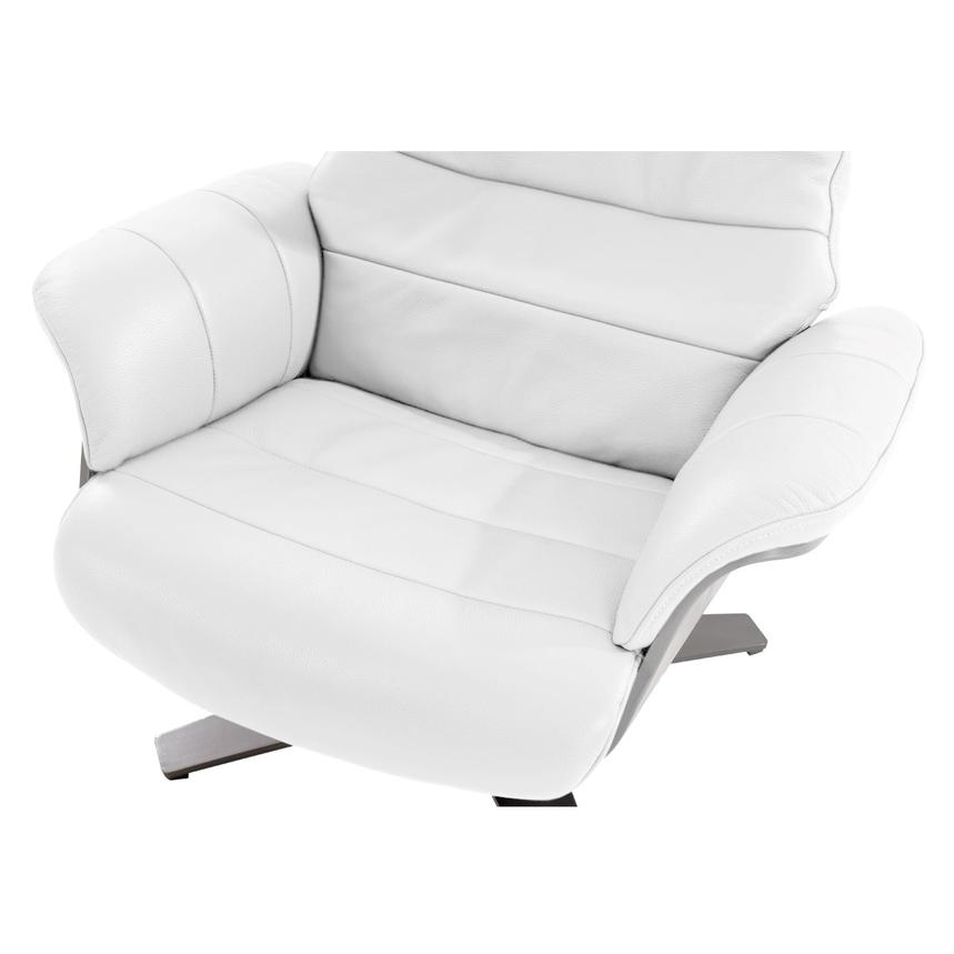 Enzo Pure White Leather Swivel Chair  alternate image, 8 of 10 images.