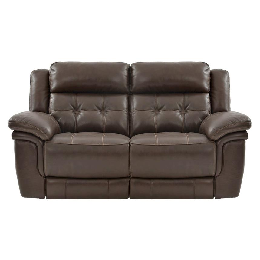 Stallion Brown Power Motion Leather Loveseat  alternate image, 3 of 8 images.