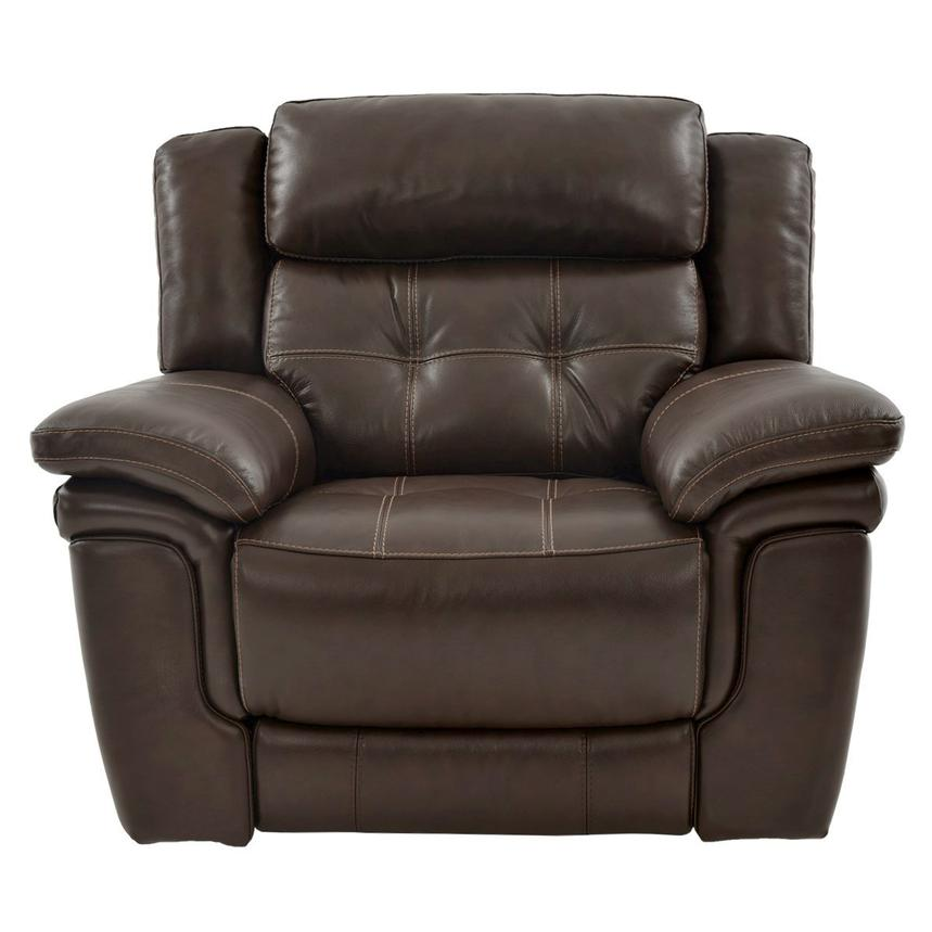 Stallion Brown Power Motion Leather Recliner  alternate image, 3 of 8 images.
