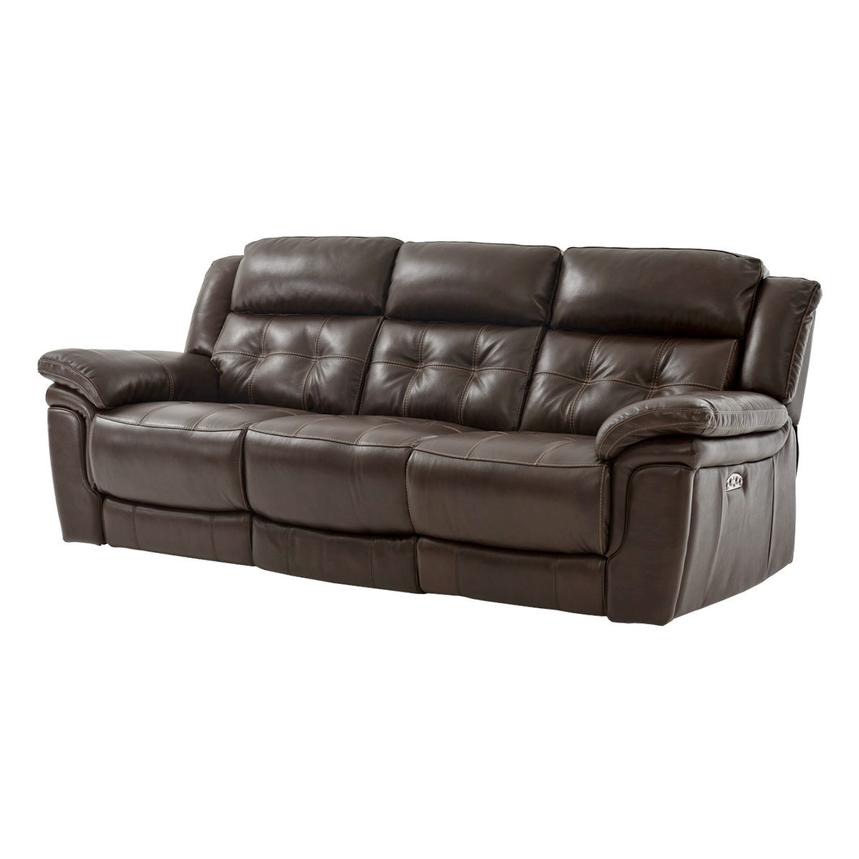 Stallion Brown Leather Power Reclining Sofa  alternate image, 2 of 9 images.