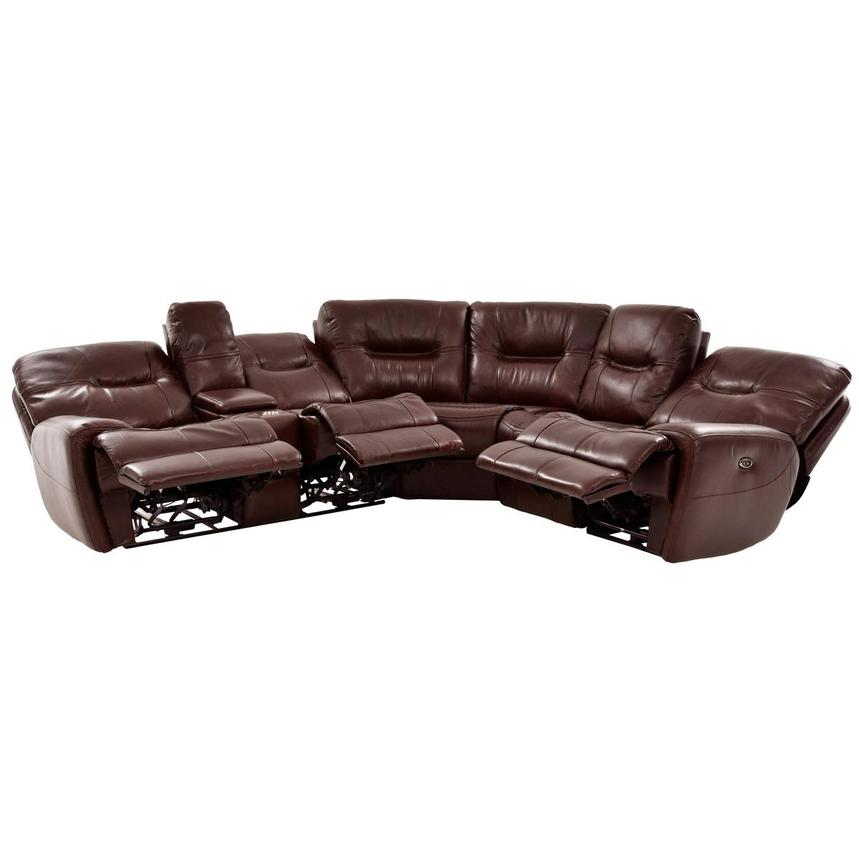 Houston Brown Leather Power Reclining Sofa w/Console