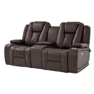Chanel Brown Power Reclining Sofa w/Console