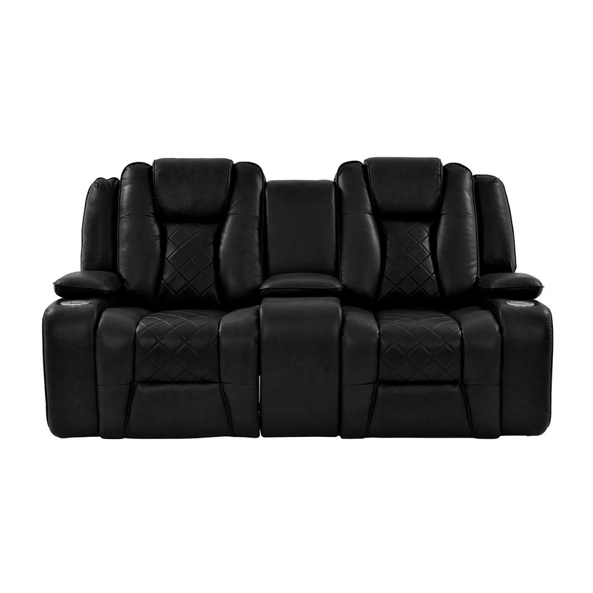 Chanel Black Power Motion Sofa w/Console  alternate image, 3 of 12 images.