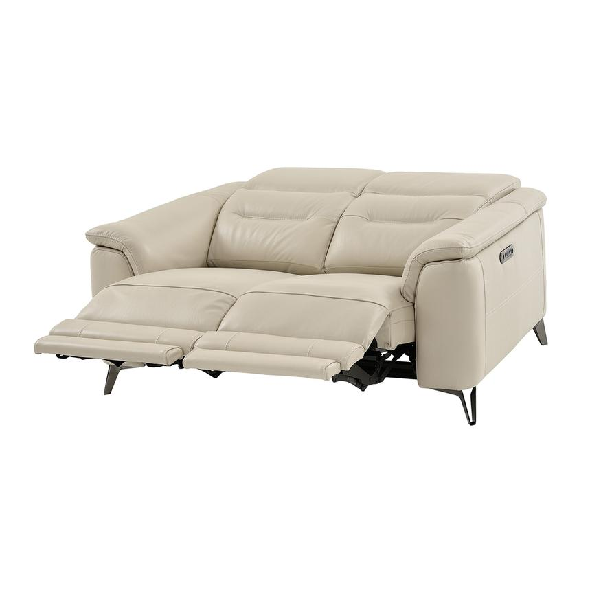 Anabel Cream Leather Power Reclining Loveseat  alternate image, 2 of 11 images.