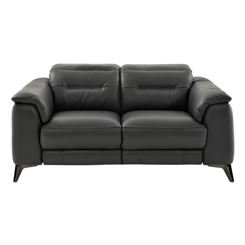 Anabel Gray Power Motion Leather Loveseat  alternate image, 3 of 9 images.