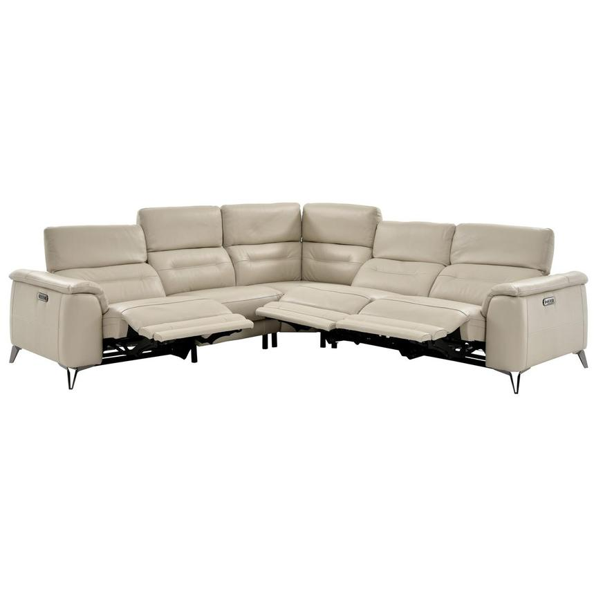 Anabel Cream Leather Power Reclining Sectional  alternate image, 7 of 16 images.