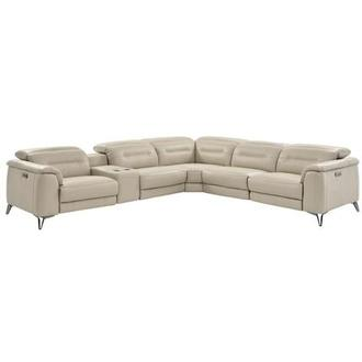 Anabel Cream Power Motion Leather Sofa w/Right & Left Recliners