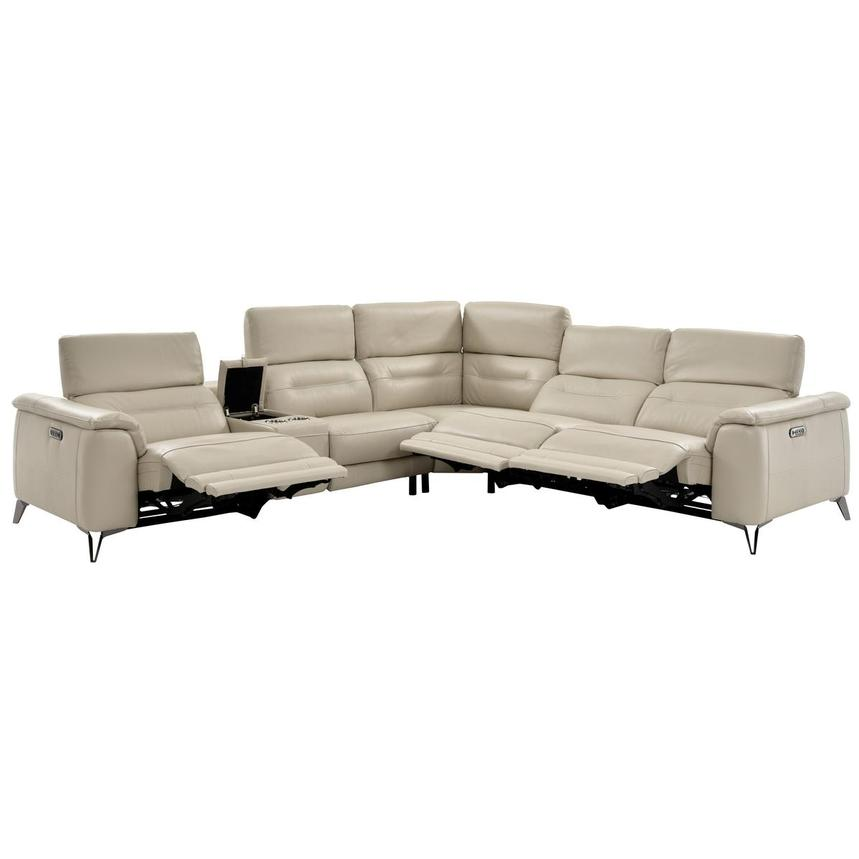Anabel Cream Power Motion Leather Sofa w/Right & Left Recliners  alternate image, 3 of 13 images.