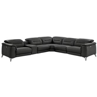 Anabel Gray Power Motion Leather Sofa w/Right & Left Recliners