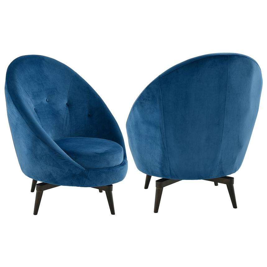 Rosa Blue Swivel Accent Chair  alternate image, 3 of 7 images.
