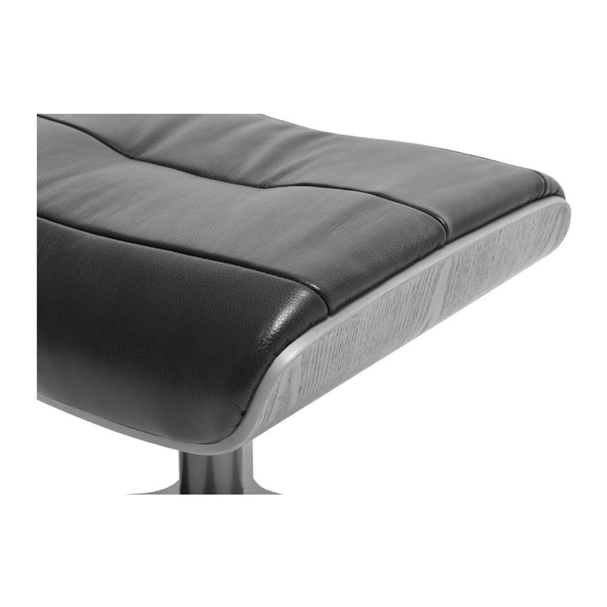 Enzo Black Leather Ottoman  alternate image, 3 of 4 images.