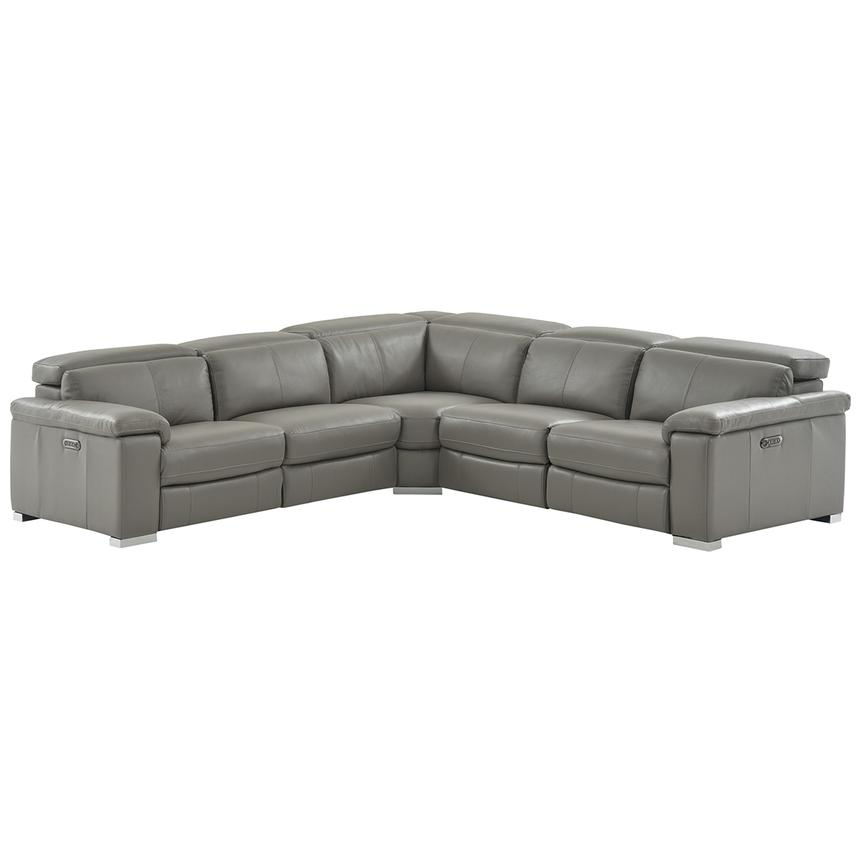Charlie Gray Leather Power Reclining Sectional  main image, 1 of 12 images.