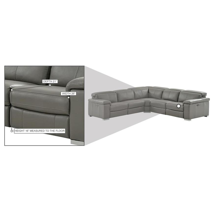 Charlie Gray Leather Power Reclining Sectional  alternate image, 11 of 12 images.