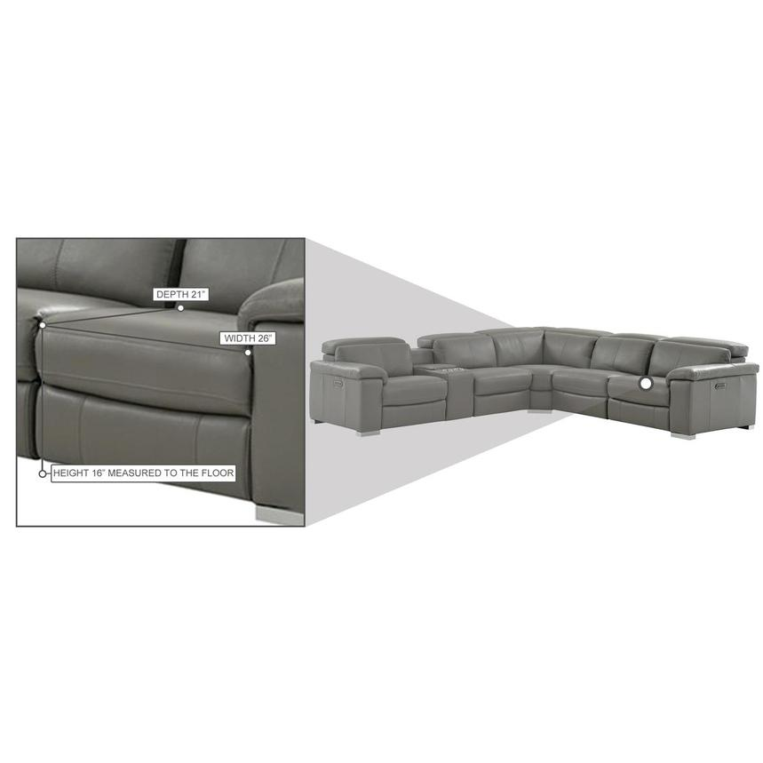 Charlie Gray Leather Power Reclining Sectional  alternate image, 12 of 12 images.