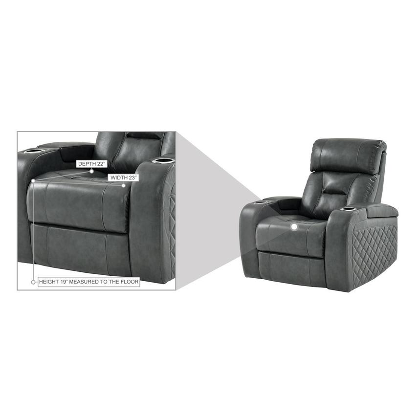 Gio Gray Leather Power Recliner  alternate image, 13 of 14 images.