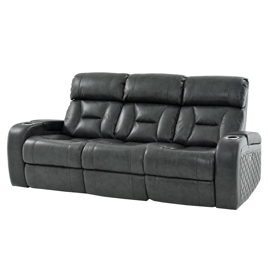 Gio Gray Leather Power Reclining Sofa  alternate image, 2 of 13 images.