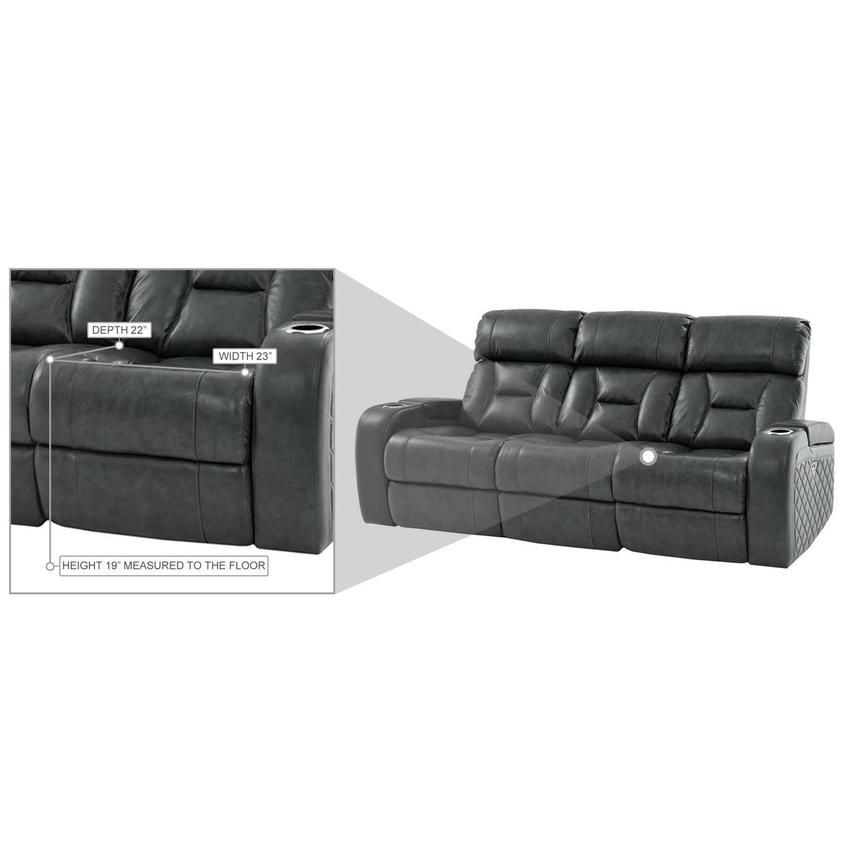Gio Gray Leather Power Reclining Sofa  alternate image, 15 of 16 images.